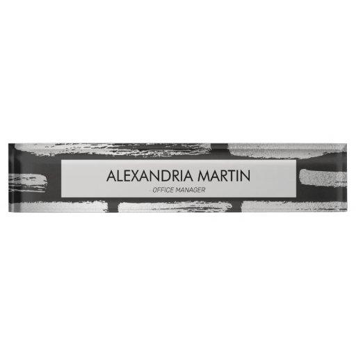 Stylish Modern Black Gray Abstract Desk Name Plate