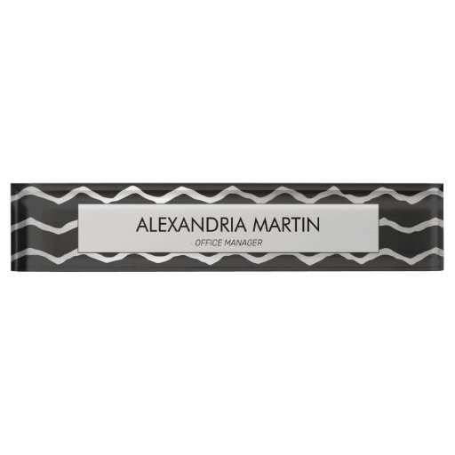 Stylish Modern Black Gray Chevron Desk Name Plate