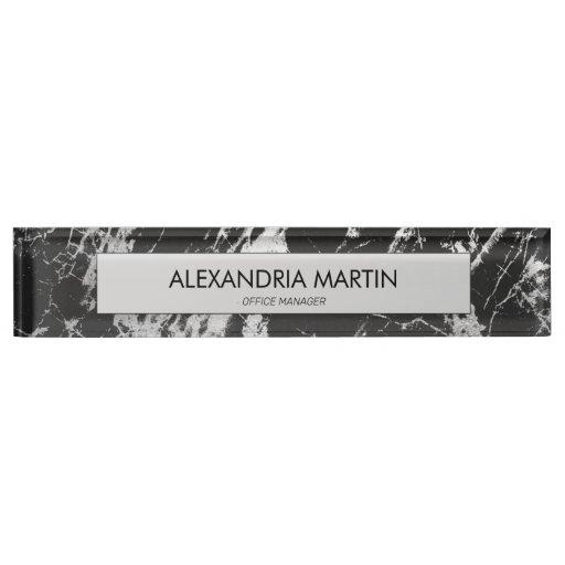 Stylish Modern Black Gray Marble  Desk Name Plate