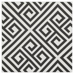 Stylish Modern Black Ivory Greek Key Chic Pattern Fabric