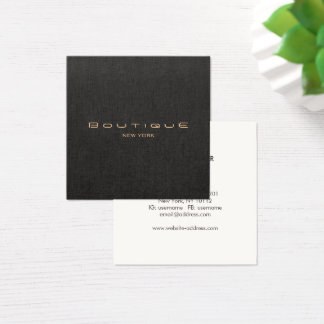 Stylish Modern Black Linen Professional Square Business Card