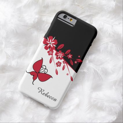 Stylish Modern Black White Red Butterfly Floral Barely There iPhone 6 Case