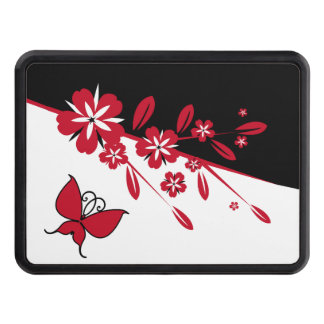 Stylish Modern Black White Red Butterfly Floral Hitch Cover