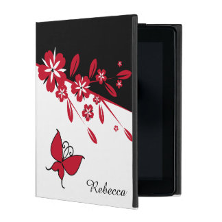 Stylish Modern Black White Red Butterfly Floral iPad Covers
