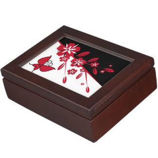 Stylish Modern Black White Red Butterfly Floral Keepsake Box
