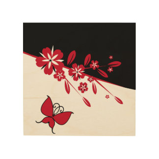 Stylish Modern Black White Red Butterfly Floral Wood Wall Decor