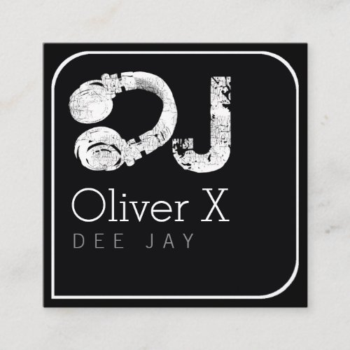 stylish & modern blk square professional DJ Square Business Card