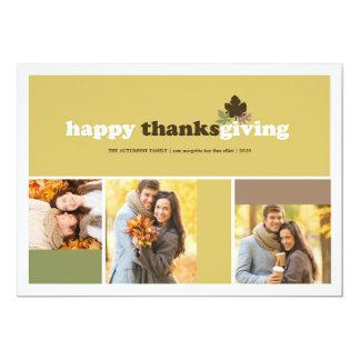 Stylish Modern Blocks Autumn Leaves Thanksgiving Invitation