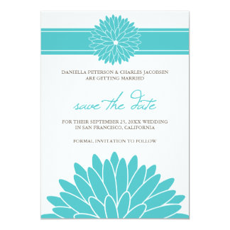 Stylish Modern Blooms Save Date Announcement