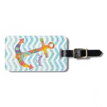 Stylish modern circle pattern ship anchor & waves, bag tag