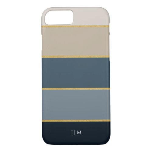 Stylish Modern Colorful and Faux Gold Stripes Phone Case
