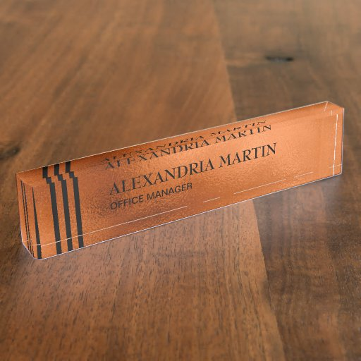 Stylish Modern CopperBlack Stripes Desk Name Plate
