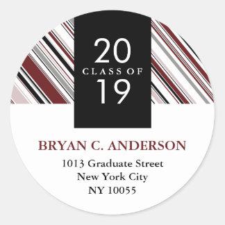 Stylish Modern Diagonal Pin Stripes Graduation Stickers
