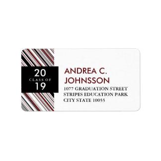 Stylish Modern Diagonal Stripes Graduation Labels
