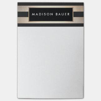 Stylish Modern Elegant Striped Black and Gold Post-it Notes