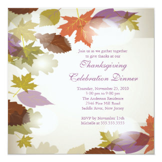 "Stylish Modern Fall Leaves Thanksgiving Invitation 5.25"" Square Invitation Card"