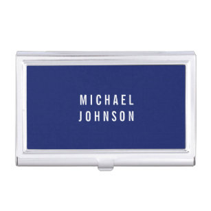 Stylish business card holders cases zazzle stylish modern faux linen blue business card holder colourmoves