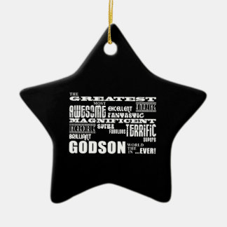 Stylish Modern & Fun Godsons : Greatest Godson Double-Sided Star Ceramic Christmas Ornament