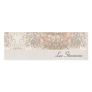 Stylish Modern Fun Trendy Silver Sequins Double-Sided Mini Business Cards (Pack Of 20)