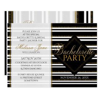Stylish Modern Girl Stripes Bachelorette Party Card