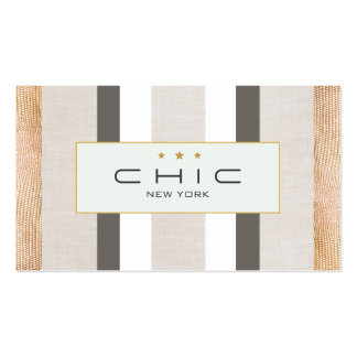 Stylish Modern Gold and Faux Linen Striped Business Cards