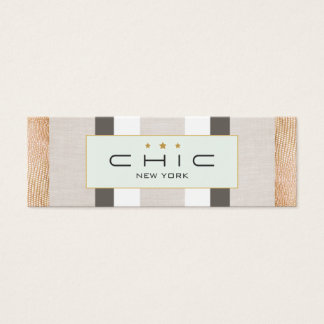 Stylish Modern Gold and Faux Linen Striped Mini Business Card
