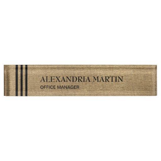 Stylish Modern Gold Black Stripes Desk Name Plate