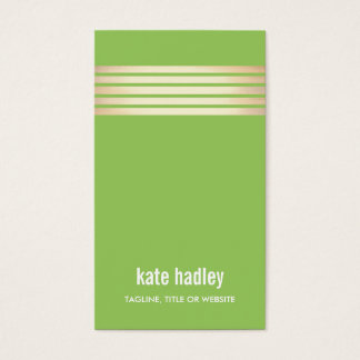 Stylish Modern Gold Striped Pattern Line Green Business Card