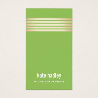 Stylish Modern Gold Striped Pattern Line Green Business Card