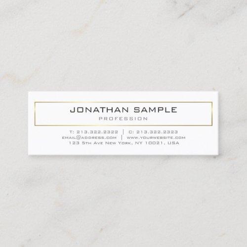 Stylish Modern Gold White Design Trendy Plain Mini Business Card