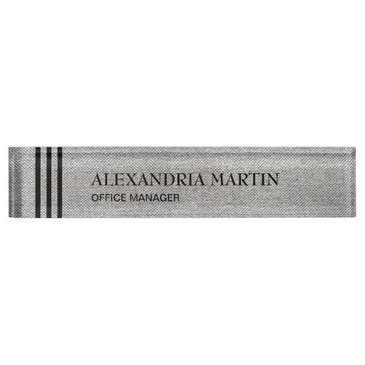 Stylish Modern Gray Black Stripes Desk Name Plate
