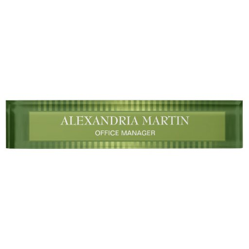 Stylish Modern Green Striped Office Professional  Desk Name Plate
