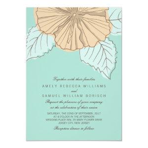 Stylish Modern Hibiscus Mint Wedding Invitation 5