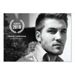 Stylish Modern Laurel Wreath Photo Graduate Invite