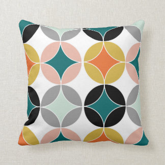 Stylish Modern Mid Century Circles Repeat Pattern Throw Pillow