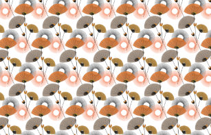 Stylish Modern Mid Century Fl Pattern Fabric