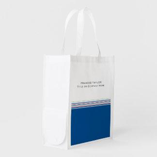Stylish modern minimal dark blue stripes pattern … reusable grocery bags