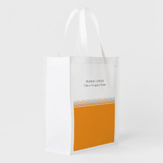 Stylish modern minimal orange stripes pattern … reusable grocery bag