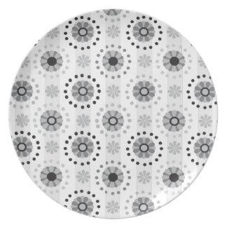 Stylish modern monochrome floral pattern melamine plate
