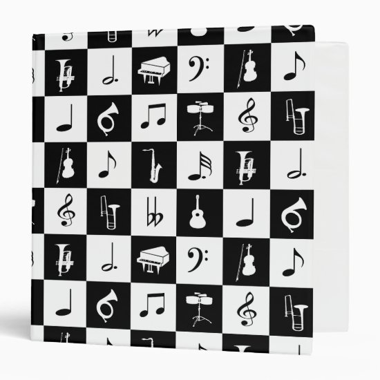 Stylish Modern Music Notes and Instruments Binder