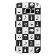 Stylish Modern Music Notes and Instruments Samsung Galaxy S6 Cases