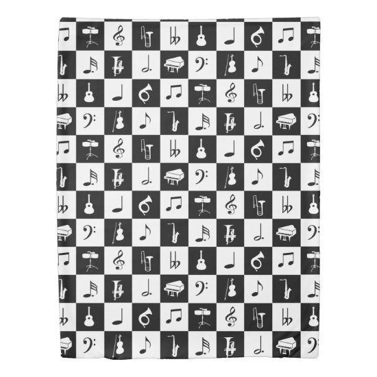 Stylish Modern Music Notes and Instruments Duvet Cover