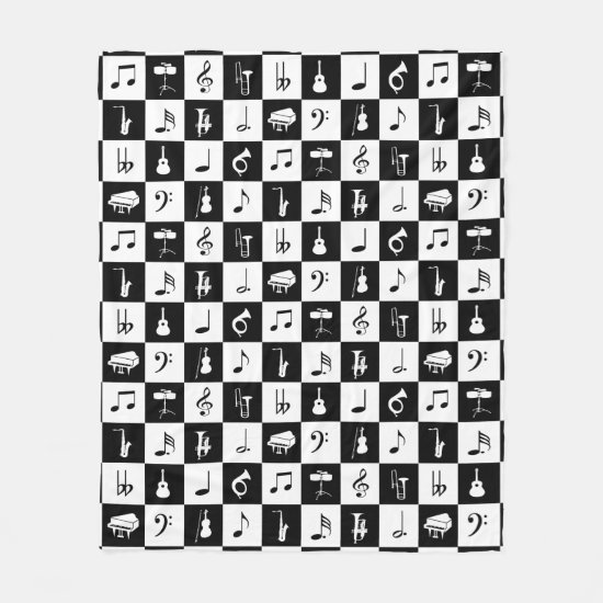 Stylish Modern Music Notes and Instruments Fleece Blanket