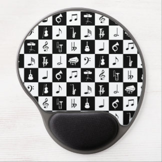 Stylish Modern Music Notes and Instruments Gel Mouse Pad