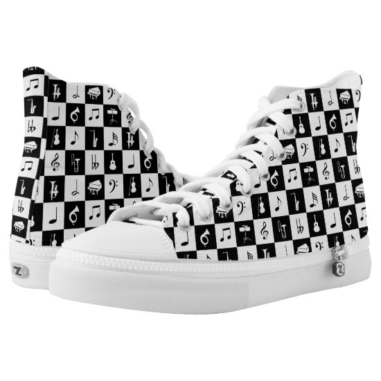 Stylish Modern Music Notes and Instruments High-Top Sneakers