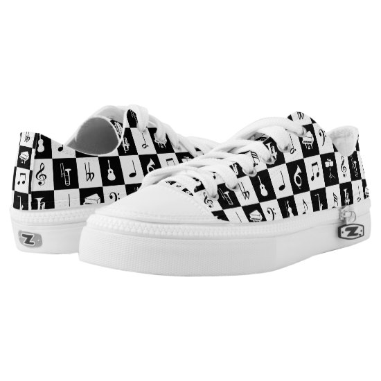 Stylish Modern Music Notes and Instruments Low-Top Sneakers