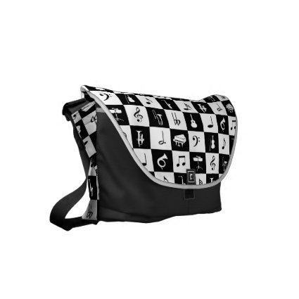 Stylish Modern Music Notes and Instruments Small Messenger Bags