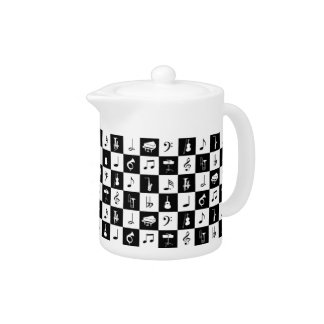 Stylish Modern Music Notes and Instruments Teapot