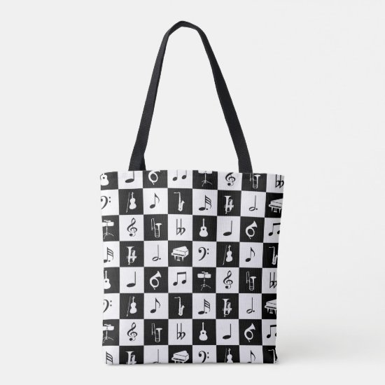 Stylish Modern Music Notes and Instruments Tote Bag