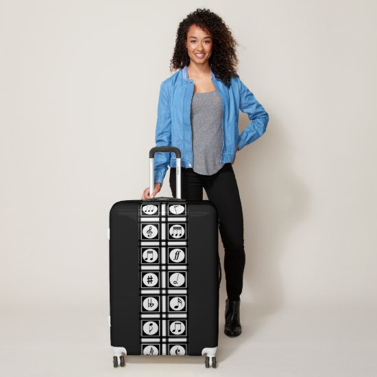 Stylish Modern Music Notes black and white Luggage